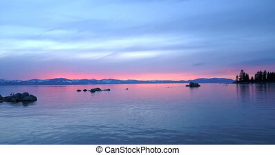 Sunset at Lake Tahoe - Flying over the surface of Lake Tahoe...