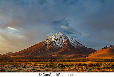 Sunset at Licancabur volcano in Atacama desert