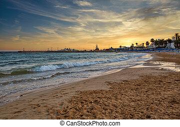 Sunset at Limanaki Beach in Ayia Napa, Cyprus.