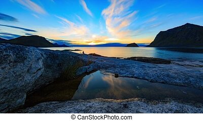 Sunset at Lofoten coast - Sunset moving timelapse at Lofoten...
