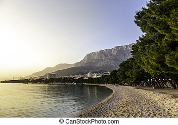 Makarska beach - sunset at Makarska beach