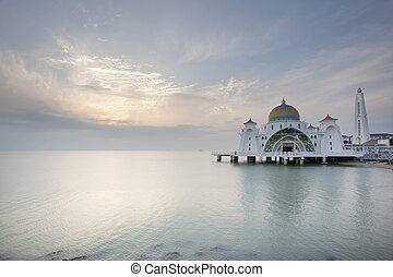 Sunset at Malacca Straits Mosque