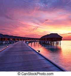 Sunset at Maldivian beach - Beautiful sunset at Maldivian...