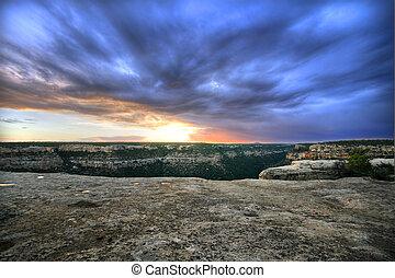 Sunset at Mesa Verde - Beautiful sunset over Mesa Verde,...