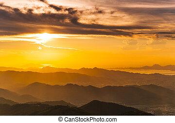 Sunset at mountain landscape