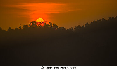 Sunset at mountain national park, thailand