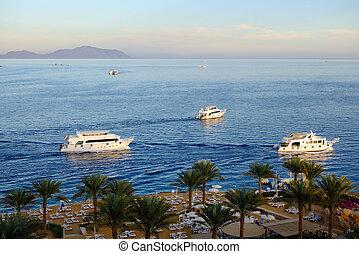 Sunset at Naama Bay, Red Sea and motor yachts, Sharm el Sheikh, Egypt