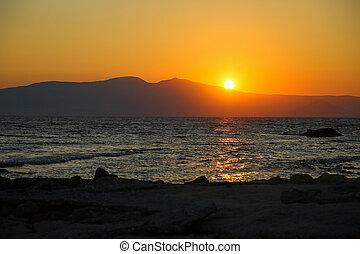 Sunset at Naxos - Sunset at the beach at the Naxos island
