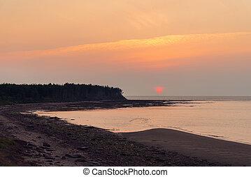 Sunset at Northumberland Strait near the Confederation Bridge
