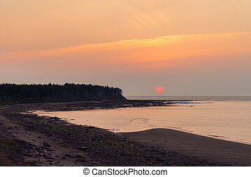Sunset at Northumberland Strait near the Confederation Bridge