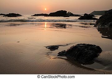 Sunset at om beach india