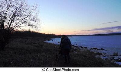 Sunset at Onega lake shore, Petrozavodsk - People walking...