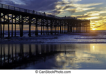 sunset at pacific beach pier, san diego, california