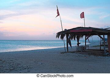 Sunset at Palm Beach on Aruba island in the Caribbean