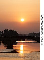 sunset at ponte Vecchio - Ponte Vecchio, Florence, Tuscany,...