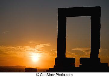 Sunset at Portara, the Temple of Apollo.Taken on Naxos,...