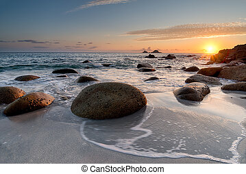 Sunset at Porth Nanven Beach in Cot Valley near St Just in Cornwall