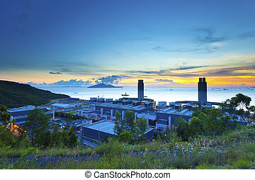 Sunset at power station in Hong Kong