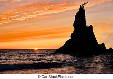 Sunset at Rialto Beach. - Sea stack silhouette by sunset...