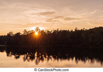 sunset at Sai Sorn Reservoir,Khao Yai Park,Thailand - sunset...