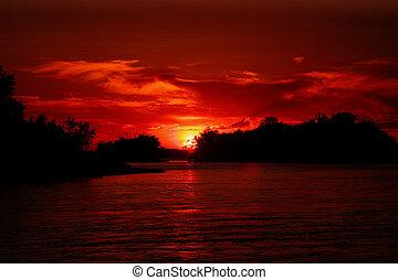 Sunset at Sainte-Anne de Bellevue Quebec, Canada.