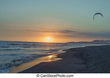 sunset at sand beach at sea Ada Bojana
