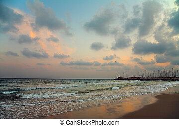 sunset at sea beach