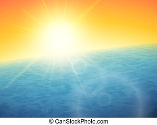 Sunset at sea, horizon with summer sun, blue ocean and clear...