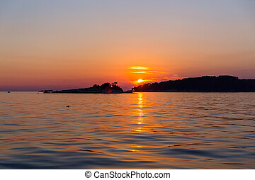 Sunset at sea in Rovinj