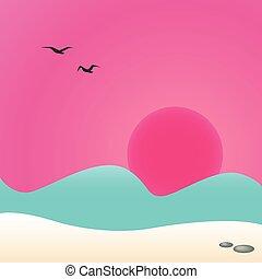 Sunset at sea, vector illustration