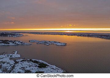 Sunset at Sillvik in Gothenburg