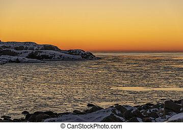 Sunset at Skagerrak in winter