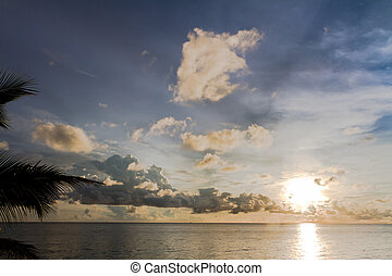 Sunset at South China Sea in Phu Quoc close to Duong Dong, ...