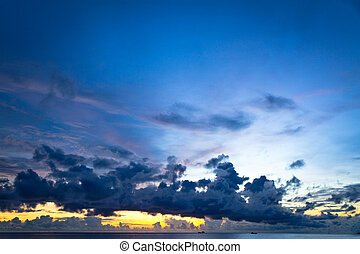 Sunset at South China Sea with big skies and ships, Phu Quoc, Vietnam