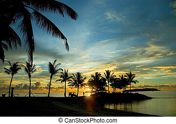 sunset at Tanjung Ar - sunset at tanjung aru, sabah,...