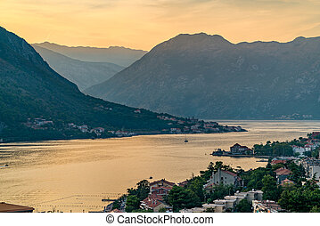 Sunset at the Bay of Kotor in Montenegro