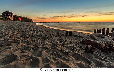 Sunset at the beach in Niechorze