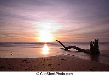 Sunset at the beach, long exposure shot