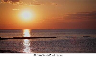 sunset at the beach. sea sunset.