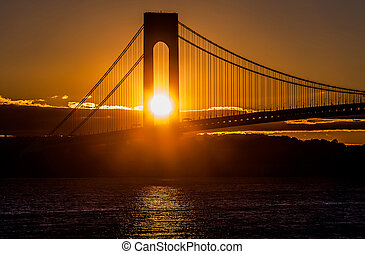 Sunset at the bridge in New York