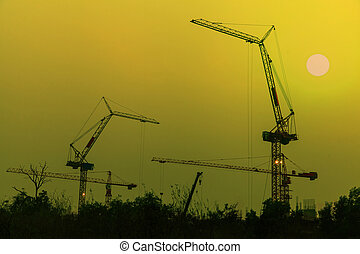 Sunset at the construction site