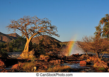 Sunset at the Epupa waterfall, Namibia