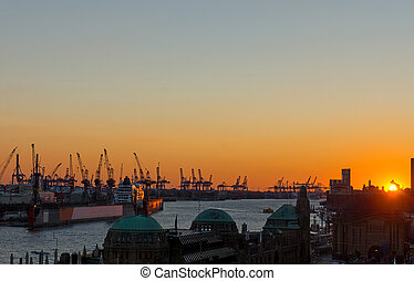 Sunset at the Hamburg harbor