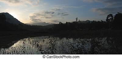 Sunset at the lake from Londa to Kete Kesu, Rantepao, Sulawesi island, Indonesia, Panorama