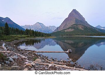 Glacier National Park in Montana - Sunset at the Many...