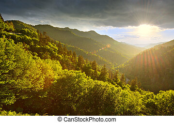 Smoky Mountains - Sunset at the Newfound Gap in the Great ...