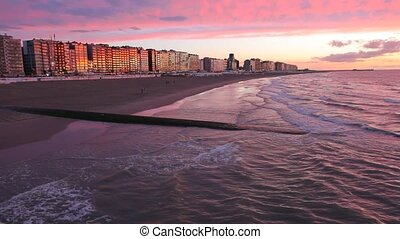 Sunset at the North Sea beach in Blankenberge, Belgium