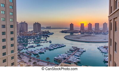 Sunset at the Pearl-Qatar timelapse from top. It is an...