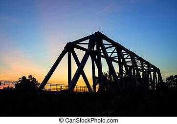 Sunset at the railway bridge.