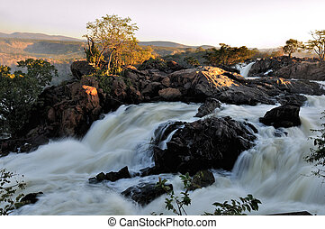 Sunset at the Ruacana waterfall, Namibia
